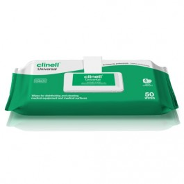 Clinell Universal Sanitising Wipes Clip Pack 50