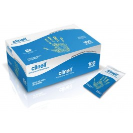 Clinell Antibacterial Single Sachet Hand Wipes (100 Wipes)
