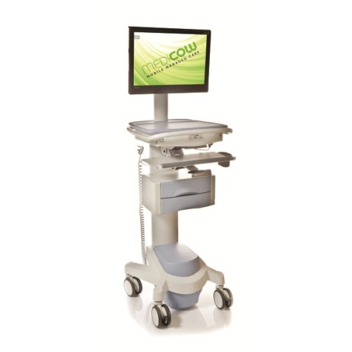 Medicow Powered Pc Computer Cart With Drawers Medicow
